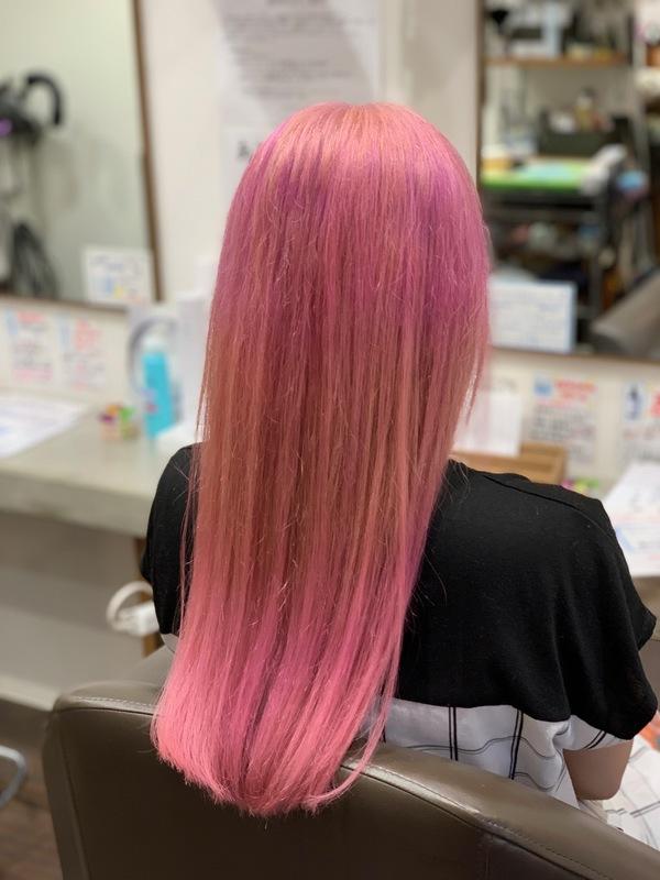ブリーチオンカラー ピンク
